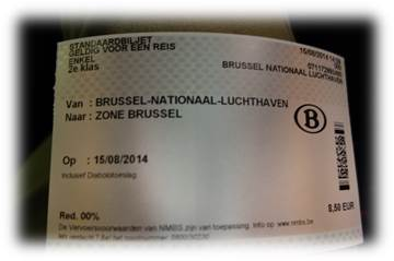 ブリュッセル南駅切符