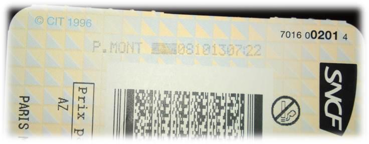 TGVチケット印字済