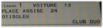 TGVチケット座席